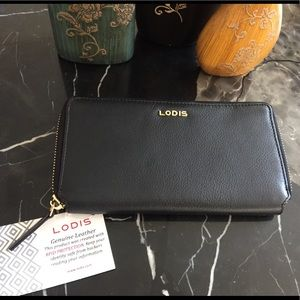 LODIS zip all around wallet w/RFID protection